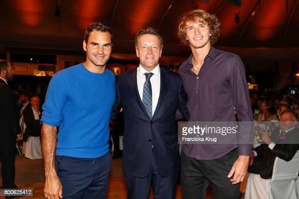 Tennis player Roger Federer CEO Ralf Weber and tennis player Alexander Zverev attend the Gerry Weber Open Fashion Night 2017 during the Gerry Weber...