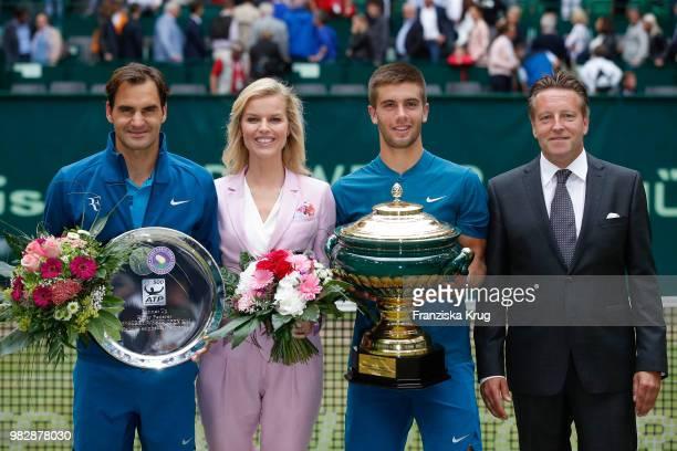 Tennis player Roger Federer, Gerry Weber testimonial international supermodel Eva Herzigoval, tennis player Borna Coric of Croatia and Ralf Weber,...