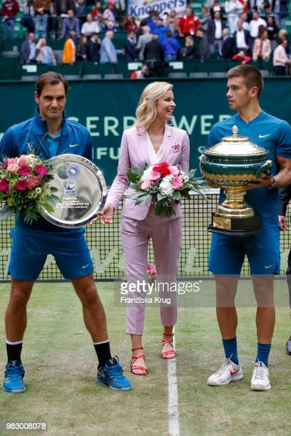 Tennis player Roger Federer Gerry Weber testimonial international supermodel Eva Herzigova and tennis player Borna Coric during the Gerry Weber Open...