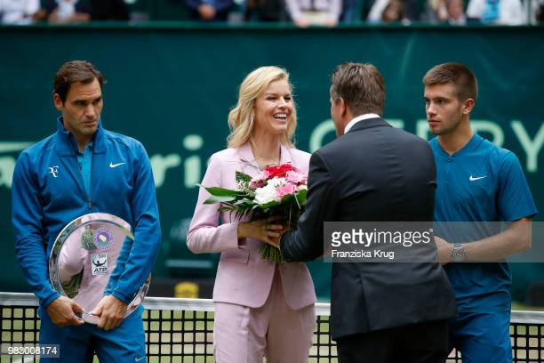 Tennis player Roger Federer Gerry Weber testimonial international supermodel Eva Herzigova Ralf Weber CEO Gerry Weber and tennis player Borna Coric...