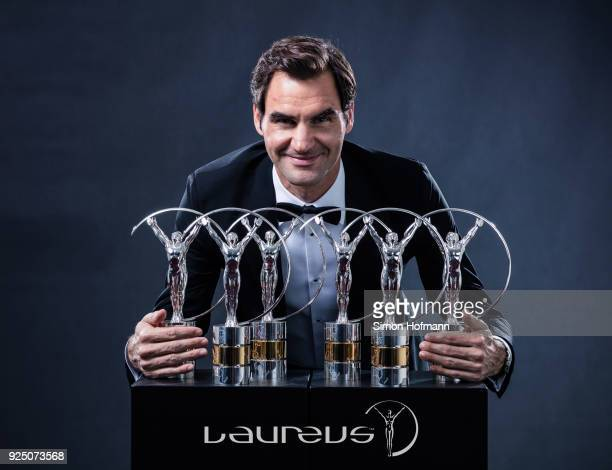 Tennis player Roger Federer holds his 6 Laureus World Awards after the 2018 Laureus World Sports Awards at Salle des Etoiles Sporting MonteCarlo on...