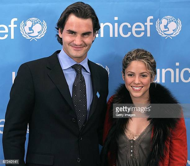 Tennis player Roger Federer poses with singer and fellow Goodwill Unicef Ambassador Shakira after Federer was named as a Goodwill Ambassador on April...