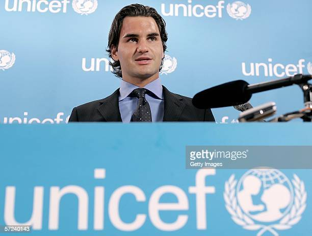 Tennis player Roger Federer speaks to the media and UNICEF personnel after he was named as a Goodwill Ambassador on April 3 2006 in New York City