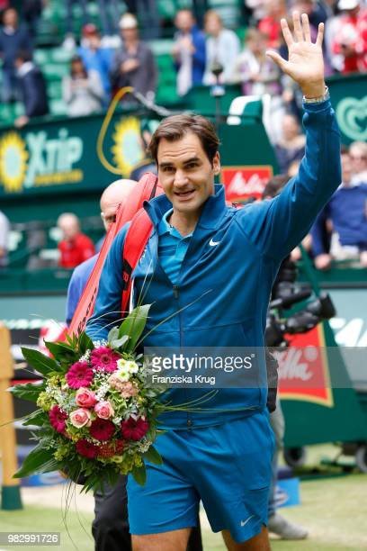 Tennis player Roger Federer waves during the Gerry Weber Open 2018 at Gerry Weber Stadium on June 24, 2018 in Halle, Germany.