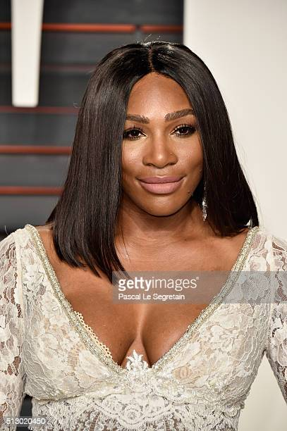 Tennis player Serena William attends the 2016 Vanity Fair Oscar Party Hosted By Graydon Carter at the Wallis Annenberg Center for the Performing Arts...