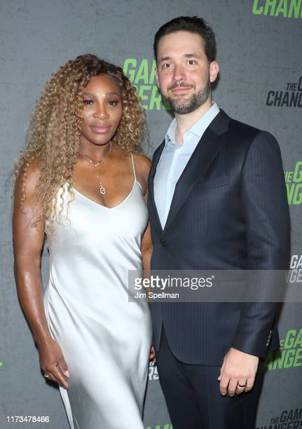 "Tennis player Serena Williams and Alexis Ohanian attend the ""The Game Changers"" New York premiere at Regal Battery Park 11 on September 09, 2019 in..."