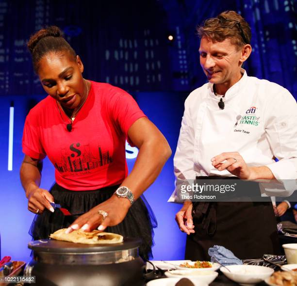 Tennis player Serena Williams and chef Cedric Tovar prepare a signature dish onstage during the Citi Taste Of Tennis gala on August 23 2018 in New...