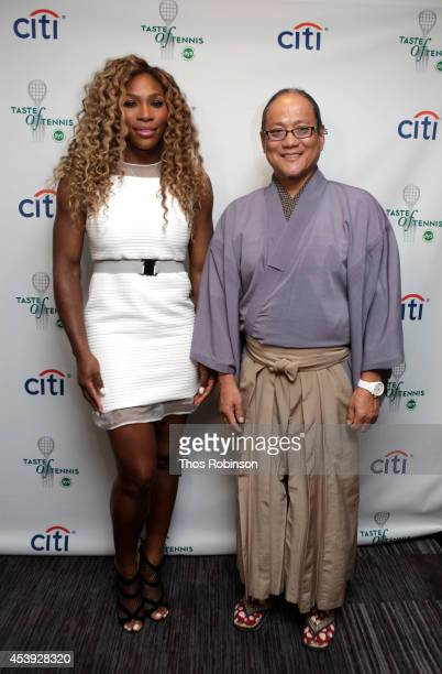Tennis player Serena Williams and chef Masaharu Morimoto attend Taste Of Tennis Week Taste Of Tennis Gala at the W New York on August 21 2014 in New...