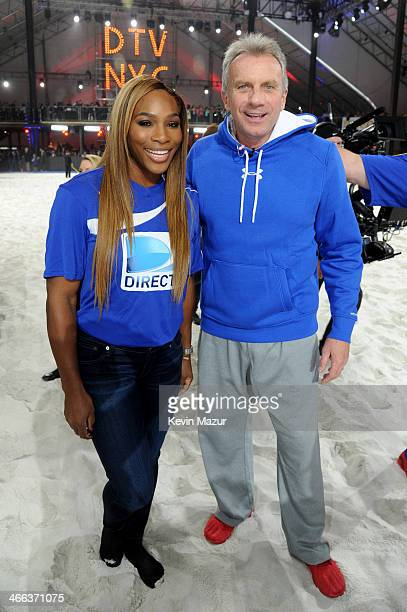 Tennis player Serena Williams and former NHL player Joe Montana participate in the DirecTV Beach Bowl at Pier 40 on February 1 2014 in New York City
