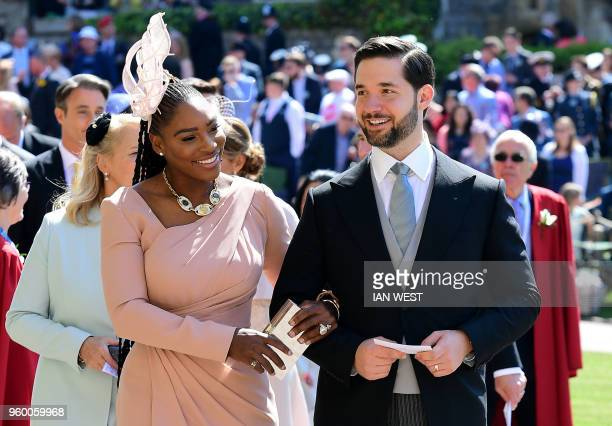 US tennis player Serena Williams and her husband Alexis Ohanian arrive for the wedding ceremony of Britain's Prince Harry Duke of Sussex and US...