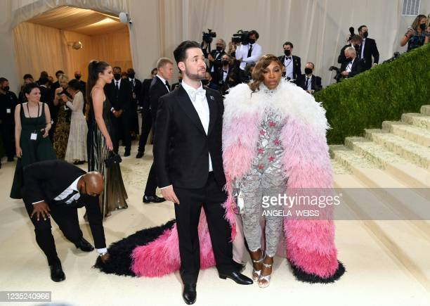 Tennis player Serena Williams and her husband Reddit co-founder Alexis Ohanian arrive for the 2021 Met Gala at the Metropolitan Museum of Art on...