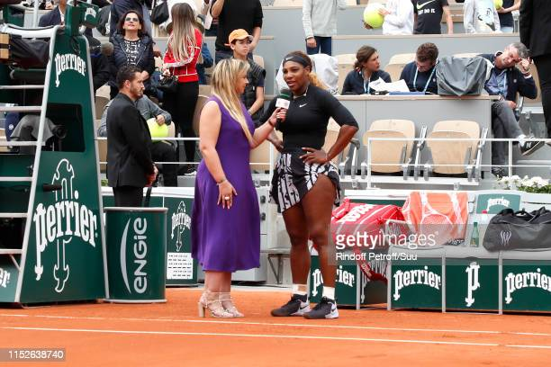 Tennis player Serena Williams answer to Marion Bartoli after she won a match during the 2019 French Tennis Open - Day Five at Roland Garros on May...