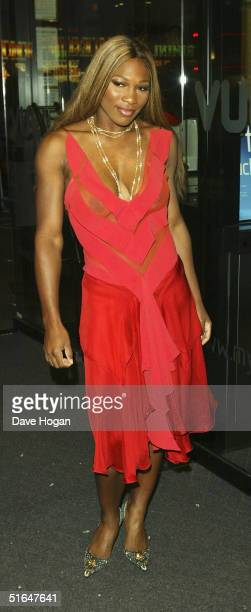 Tennis player Serena Williams arrives at the World Film Premiere of 'After The Sunset' at Vue Leicester Square on November 2 2004 in London