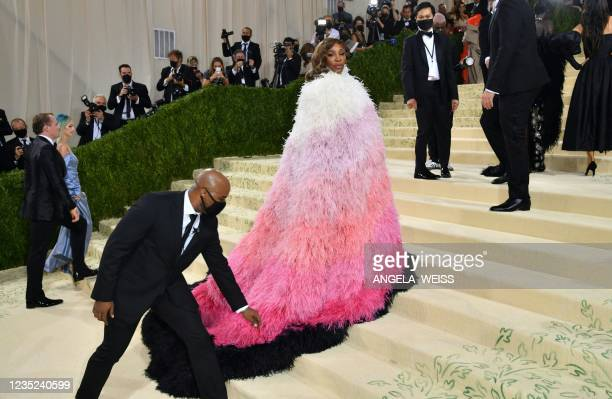 Tennis player Serena Williams arrives for the 2021 Met Gala at the Metropolitan Museum of Art on September 13, 2021 in New York. - This year's Met...