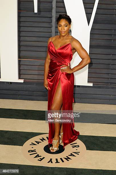 Tennis Player Serena Williams attends the 2015 Vanity Fair Oscar Party hosted by Graydon Carter at Wallis Annenberg Center for the Performing Arts on...