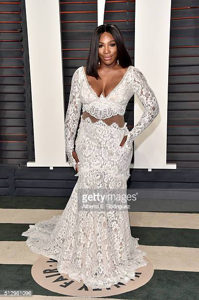 Tennis player Serena Williams attends the 2016 Vanity Fair Oscar Party hosted By Graydon Carter at Wallis Annenberg Center for the Performing Arts on...