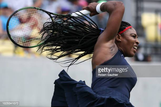 A tennis player Serena Williams competes against Daria Gavrilova of Australia in the first round of the Women's Tennis Singles tournament at the...