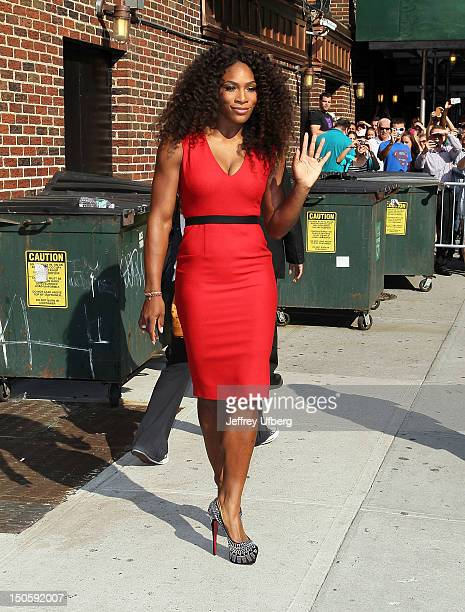 Tennis player Serena Williams depart 'Late Show with David Letterman' at Ed Sullivan Theater on August 22 2012 in New York City