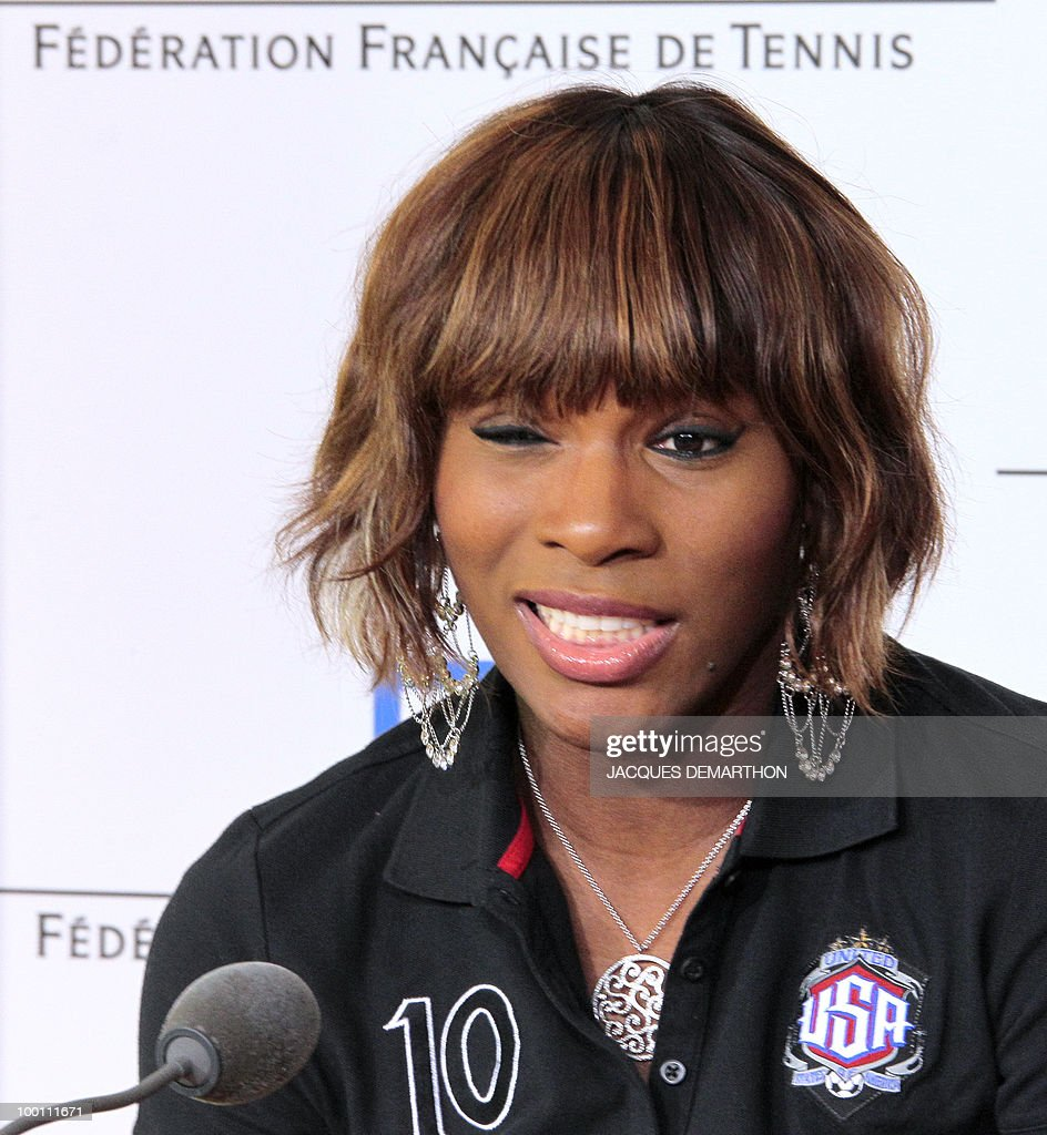 US tennis player Serena Williams gives a press conference on May 21, 2010 at Roland-Garros tennis stadium in Paris, two days ahead of the French Open, the second Grand Slam tournament of the season. For Roger Federer, Rafael Nadal, Serena Williams and Maria Sharapova, the French Open starts on May 23, 2010.
