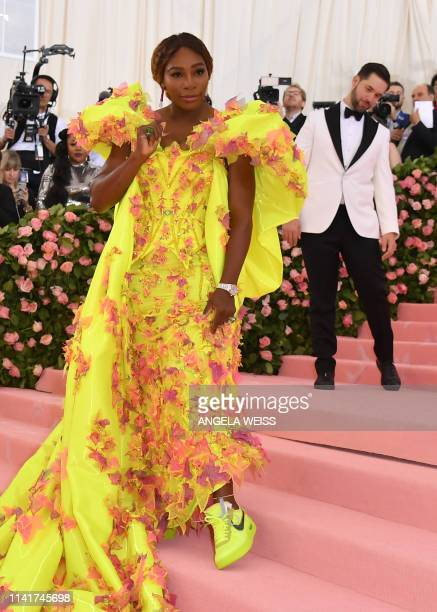 Tennis player Serena Williams her husband Alexis Ohanian arrive for the 2019 Met Gala at the Metropolitan Museum of Art on May 6 in New York. - The...