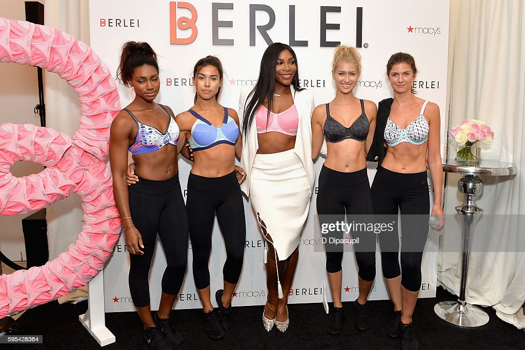 dbc0be2049 Tennis Player Serena Williams poses with models during the Berlei Sports  Bras Launch At Macy s With