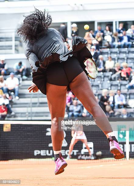 US tennis player Serena Williams returns the ball to US tennis player Madison Keys during the final tennis match of the WTA Tennis Open tournament at...