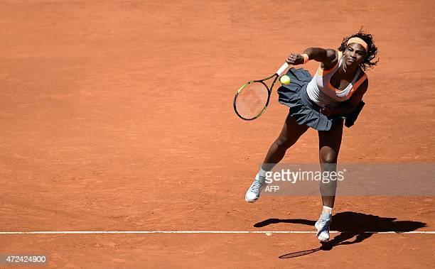 US tennis player Serena Williams serves for Spanish tennis player Carla Suarez Navarro during the Madrid Open tournament at the Caja Magica sports...