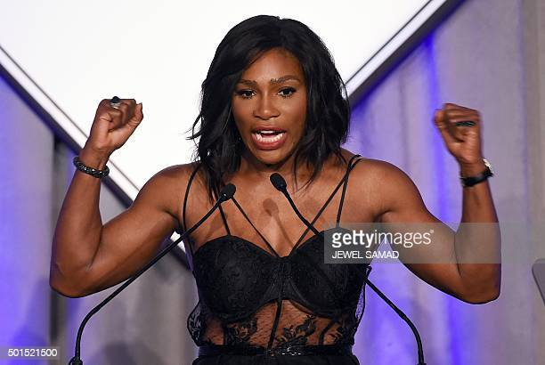 Tennis player Serena Williams speaks after receiving the Sports Illustrated Sportsperson of the Year trophy during a ceremony in New York on December...