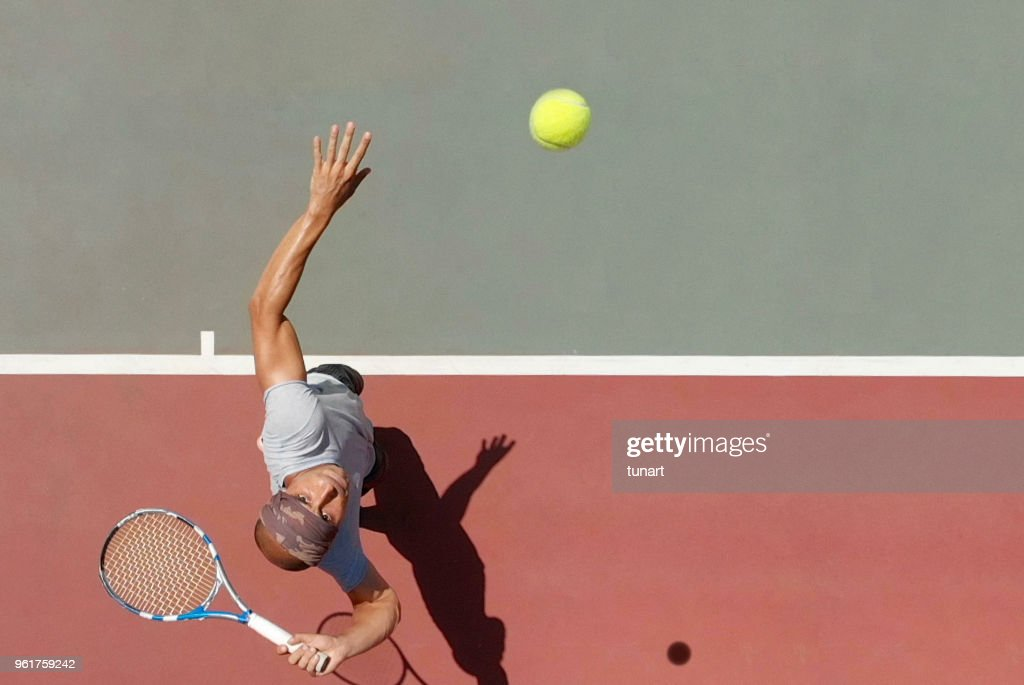 Tennis Player Serving : Stock Photo