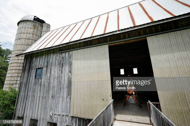 Tennis player Sophie Chang of the United States works out inside a barn at New Wood Farm her grandmother's farm on June 3 2020 in Havre de Grace...
