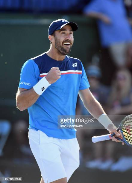 Tennis player Steve Johnson reacts after defeating Bradley Klahn in a quarterfinals match played at the Oracle Challenger Series on January 31, 2020...