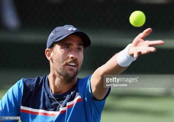 Tennis player Steve Johnson serving during a match at the Oracle Challenger Series tennis tournament played on January 30, 2020 at the Newport Beach...