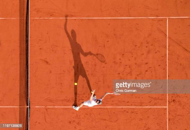 Tennis player Toby Panton practices in the late afternoon sun at Steep Lawn Tennis Club in Hampshire on July 10 2019 in Petersfield United Kingdom...