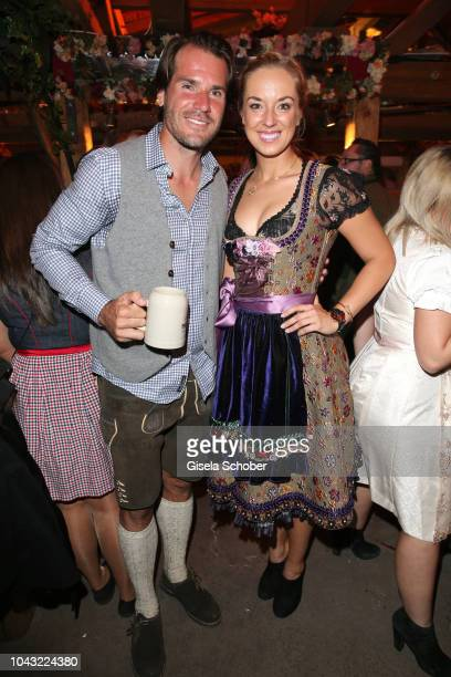 Tennis player Tommy Haas and Sabine Lisicki during the Oktoberfest 2018 at Kaeferschaenke tent Theresienwiese on September 29, 2018 in Munich,...