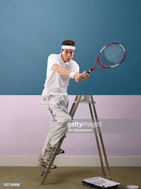 tennis player top, decorator bottom - offbeat stock pictures, royalty-free photos & images