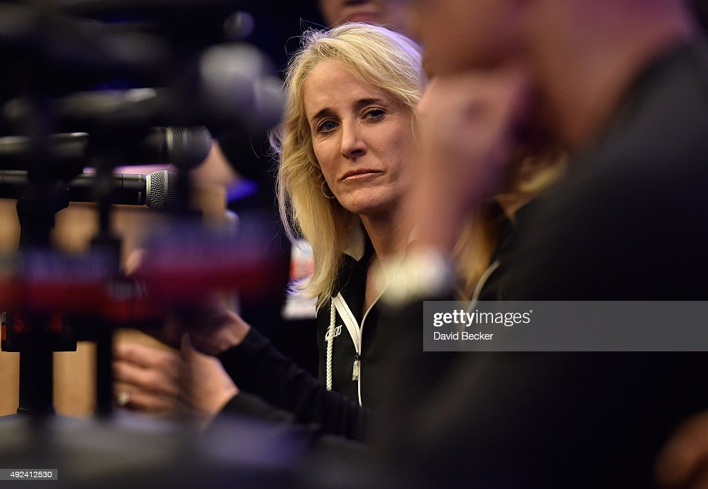 Tennis player Tracy Austin attends a new conference before