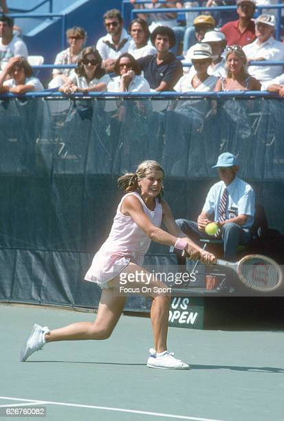 Tennis player Tracy Austin of the United States hits a return during the women 1978 US Open Tennis Tournament circa 1978 at the USTA National Tennis...