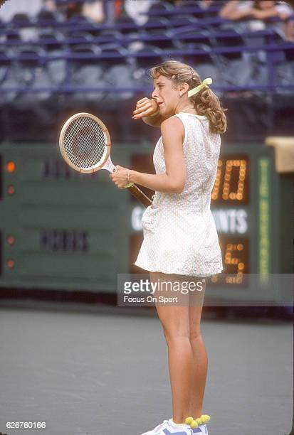 Tennis player Tracy Austin of the United States looks on during the women 1981 US Open Tennis Tournament circa 1981 at the USTA National Tennis...