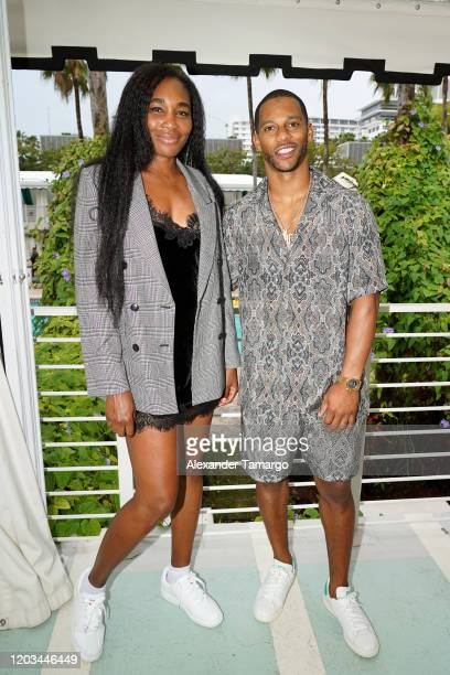 Tennis player Venus Williams and former NFL player Victor Cruz attend BACARDI's Big Game Party at Surfcomber Hotel on February 01 2020 in Miami Beach...