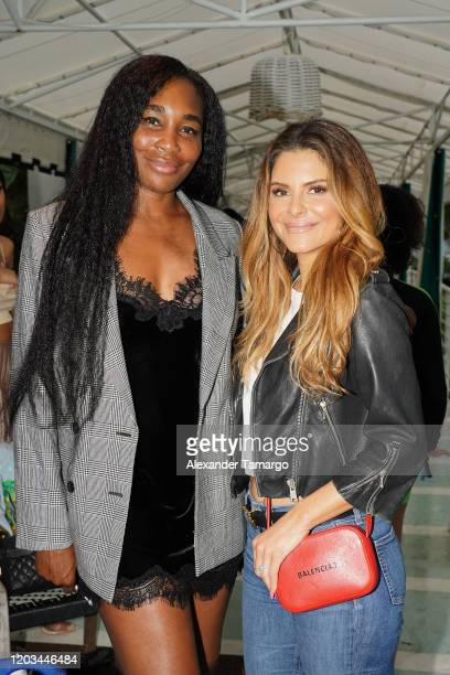 Tennis player Venus Williams and TV personality Maria Menounos attend BACARDI's Big Game Party at Surfcomber Hotel on February 01 2020 in Miami Beach...