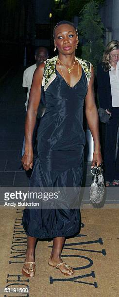 Tennis player Venus Williams arrives with a guest at the Wimbledon Winners Dinner at the Savoy Hotel on July 3 2005 in London