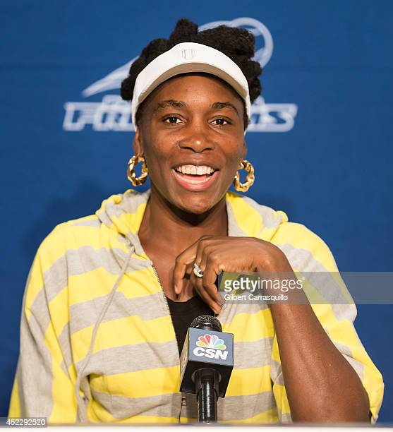 Tennis player Venus Williams attends the 'Eleven By Venus' clothing line event at Villanova University on July 17 2014 in Philadelphia Pennsylvania