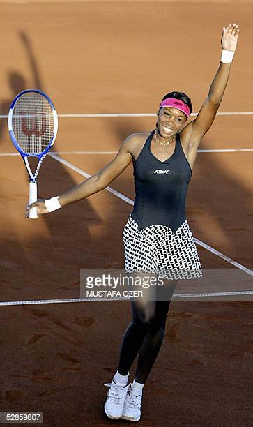 US tennis player Venus Williams celebrates after defeating Spain's Marta Marrero in their match of the WTA Tournament Istanbul Cup in Istanbul 17 May...