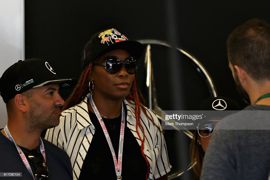 Tennis player Venus Williams in the Mercedes AMG garage during qualifying for the United States Formula One Grand Prix at Circuit of The Americas on October 22, 2016 in Austin, United States.