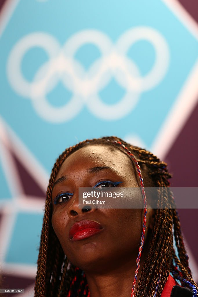 Tennis player Venus Williams of the United States speaks during a USOC Press Conference on July 24, 2012 in London, England.