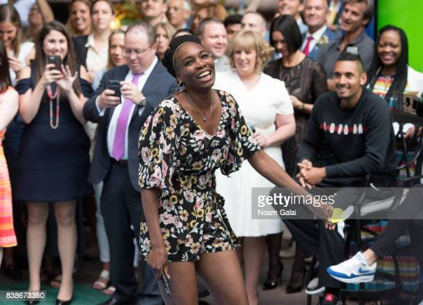 Tennis player Venus Williams plays badminton during the 2017 Lotte New York Palace Invitational at Lotte New York Palace on August 24 2017 in New...