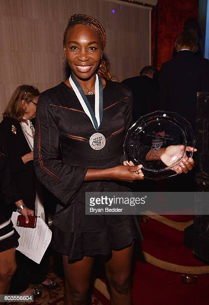 Tennis player Venus Williams poses at the 31th Annual Great Sports Legends Dinner to benefit The Buoniconti Fund to Cure Paralysis at The Waldorf...