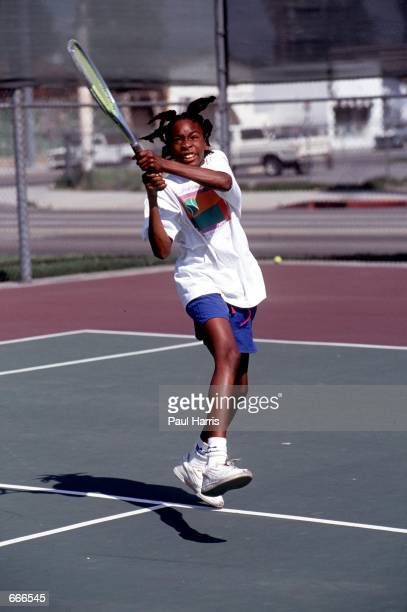 Tennis player Venus Williams practices her game 1991 in Compton CA Serena and Venus Williams will be playing against each other for the first time...