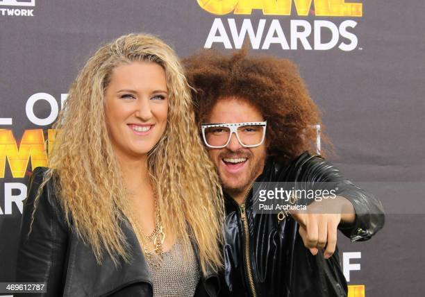 Tennis Player Victoria Azarenka and Recording Artist Redfoo attend the Cartoon Network's Hall Of Game Awards at Barker Hangar on February 15 2014 in...