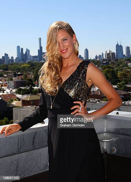 Tennis player Victoria Azarenka poses after meeting and being styled by Singer and TV presenter Dannii Minogue in one of her Project D dresses ahead...